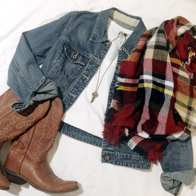 maroon Aggie inspired blanket scarf paired with denim