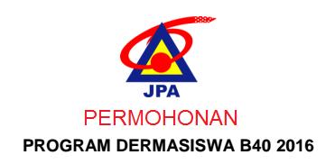 Permohonan biasiswa B40 JPA 2016 Online