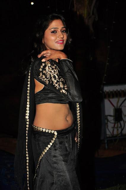 Shalu Chourasiya in Saree Style Black Lehenga Choli