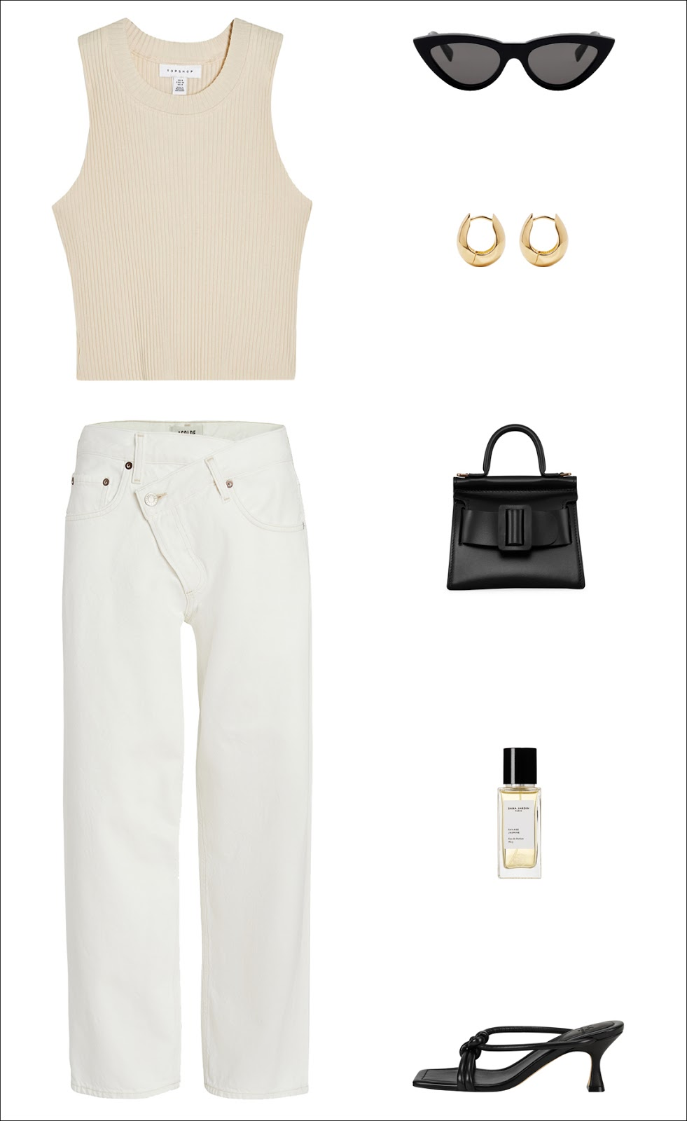 Stylish Way to Wear White Jeans for Summer —black cat-eye sunglasses, a beige tank top, yellow-gold hoop earrings, a cool black mini bag, white straight-leg jeans, and strappy black mule heels