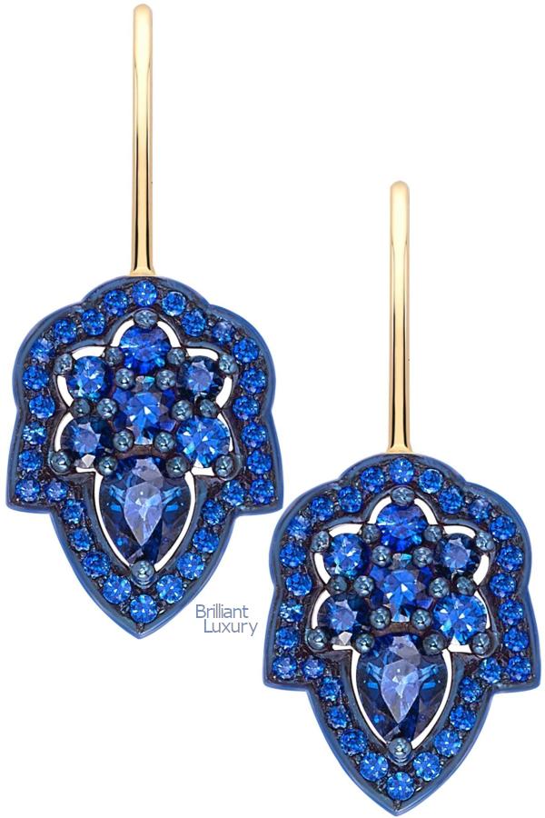 Brilliant Luxury♦Ana de Costa Blue Sapphire Yellow Gold Pear Drop Earrings
