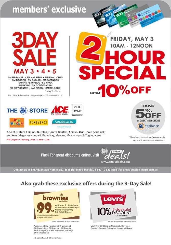 Manila Shopper Sm Malls 3 Day Sale May 3 5 2013