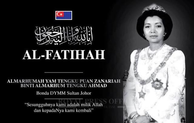 Tengku Puan Zanariah mangkat, bonda tiri Sultan Johor Sultan Ibrahim