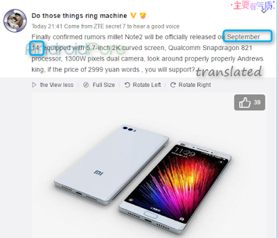 Xiaomi Mi Note 2 Leak