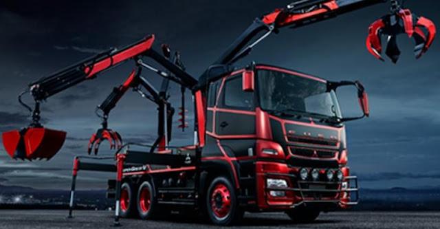 foto konsep modifikasi truk fuso with crane