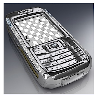 Un téléphone portable fait d'or et de diamants.
