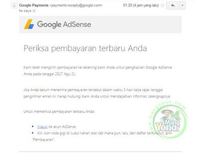 Email pembayaran dari Tim Google