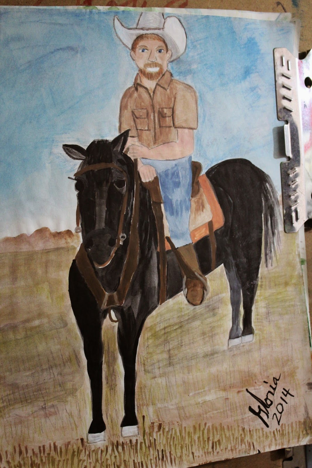 """A white hat on black horse"" sketch by Gloria Poole of Missouri; 21-March-2014"