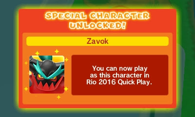 Zavok character unlocked Mario & Sonic at the Rio 2016 Olympic Games 3DS