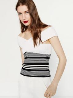 Zara crossover neckline off the shoulder top in black and white stripe