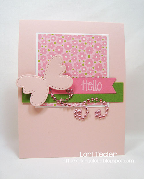 Springtime Hello card-designed by Lori Tecler-stamps and dies from Lil' Inker Designs