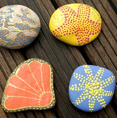 colorful painted beach rocks