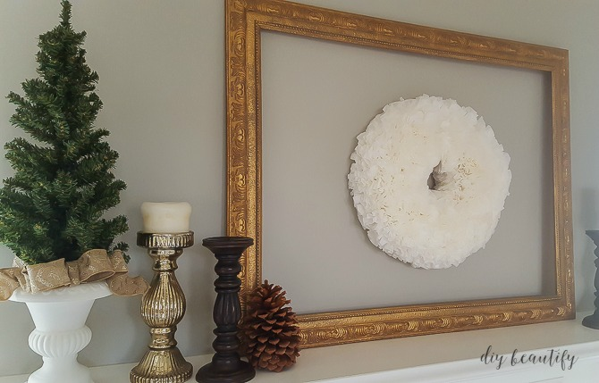 winter mantle with gold frame