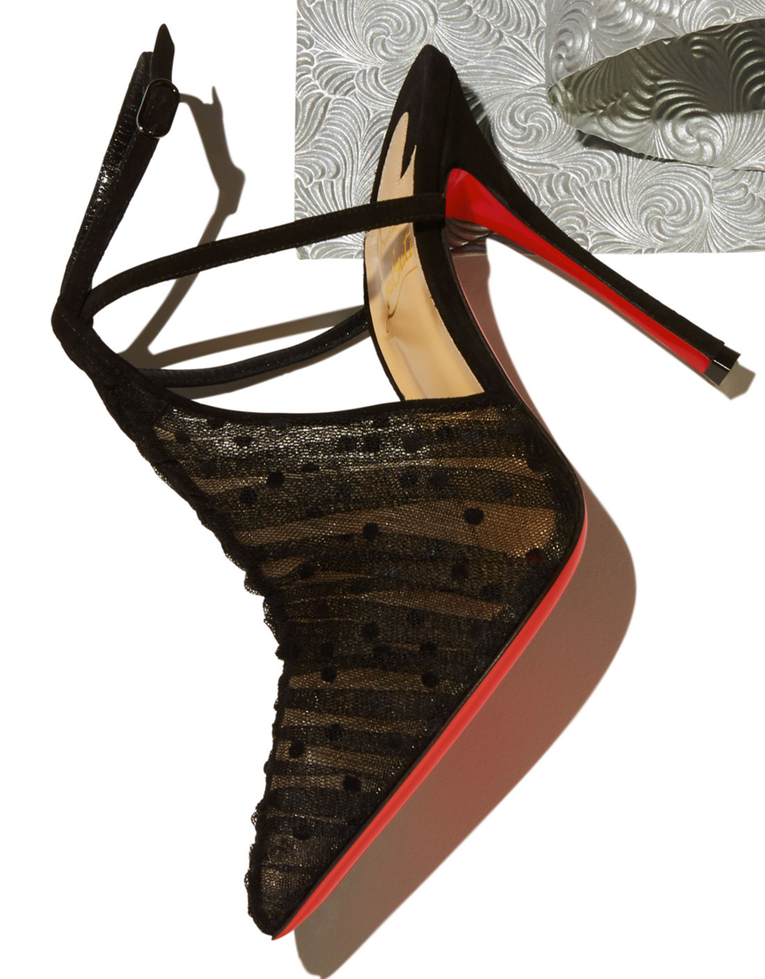 Christian Louboutin Acide Lace Tulle Red Sole Pump, Black