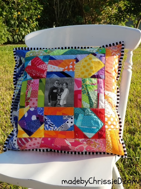 Rainbow Scrappy Cushion by www.madebyChrissieD.com