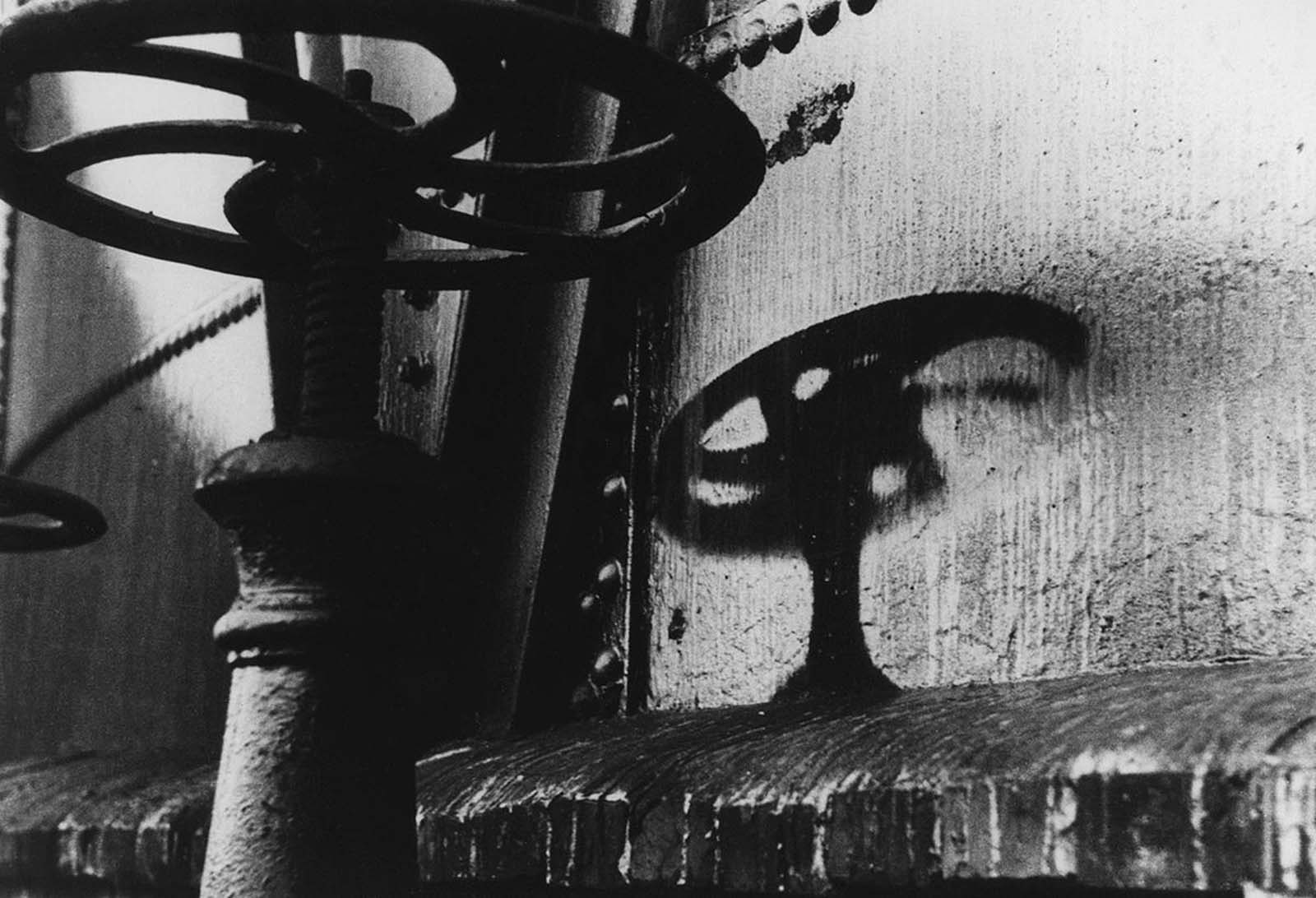 The shadow of a handle on a gasometer left an imprint after the August 6, 1945 atomic bomb explosion, two kilometers away from the hypocenter in Hiroshima.