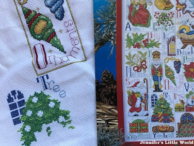 Christmas ABC cross stitch sampler in progress