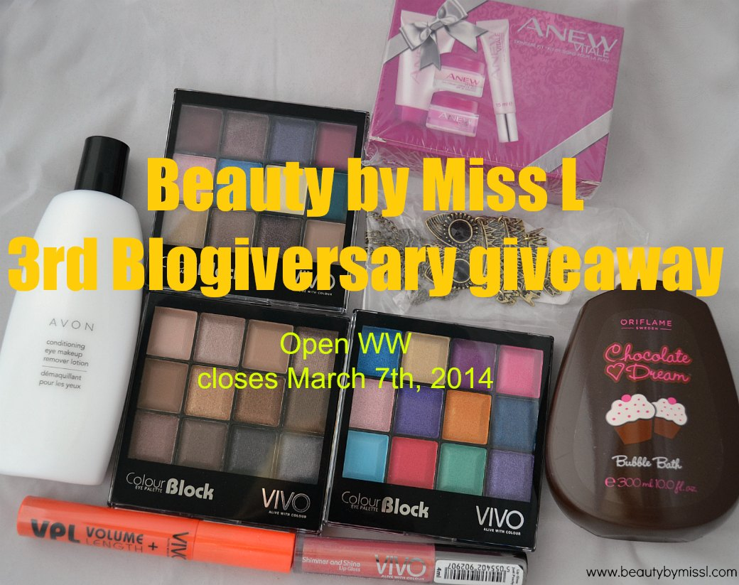 Beauty by Miss L 3rd Blogiversary giveaway