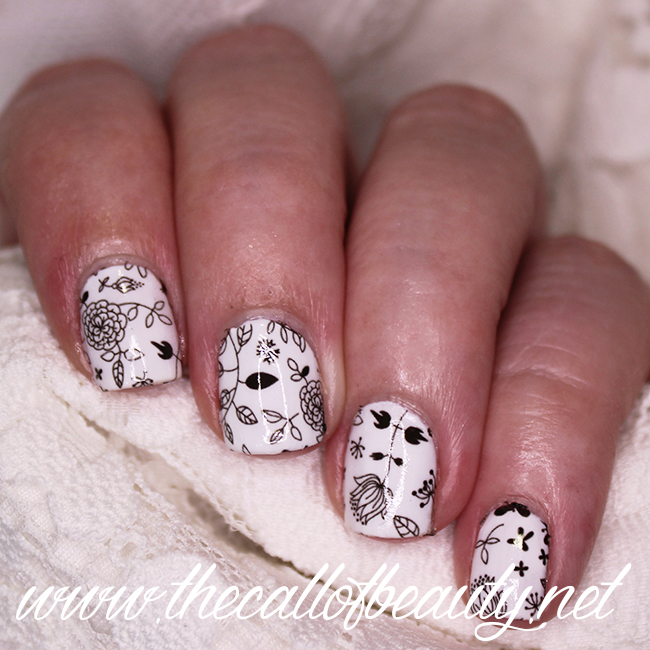 Floral Black & White Nails