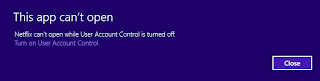 Windows 8 UAC disabled, this app can't open