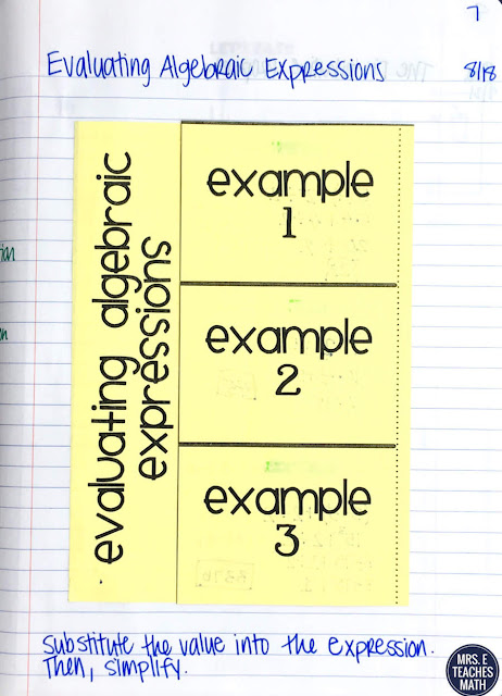 These interactive notebook notes for order of operations and evaluating algebraic expressions are perfect for algebra or pre-algebra students.  The foldable has lots of examples too.  It will work for middle school or high school.