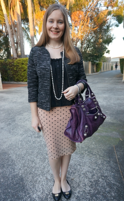 ladylike office outfit boucle tweed blazer pearl necklaces pink polka dot pencil skirt | AwayFromBlue