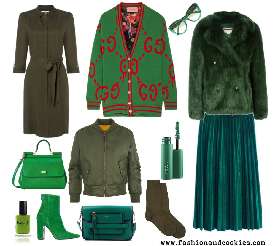 Greenery, army green and emerald green shades fashion clothes on Fashion and Cookies fashion blog, fashion blogger