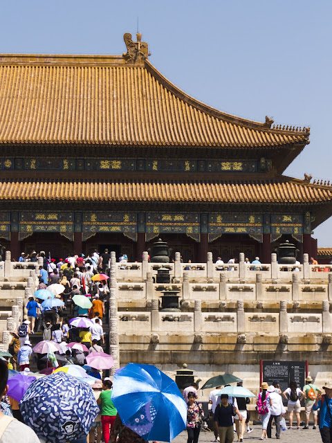 Crowds of visitors at the Forbidden City in Beijing China