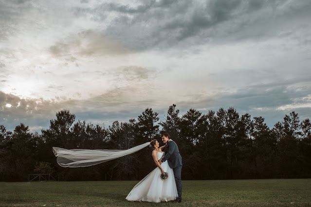Bride and groom featuring blowing veil