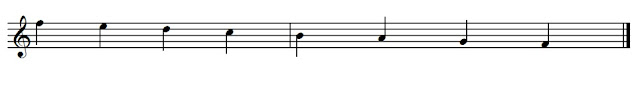 The stems of high notes go down on the left. The stems of low notes go up on the right.