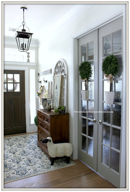 French Country-French Farmhouse-Foyer-Carriage House Lighting-Vintage Chest Of Drawers-Shiplap-From My Front Porch To Yours