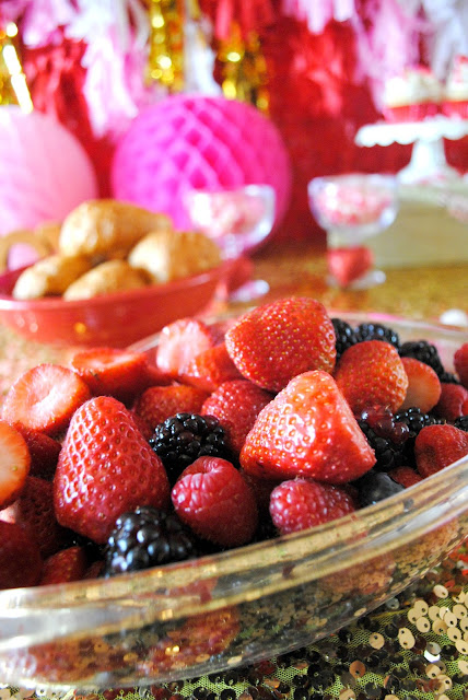 Fresh fruit is a welcome addition to your Galentine's Day brunch table. For other brunch  menu ideas go to www.FizzyParty.com