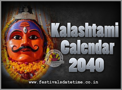2040 Kalashtami Vrat Dates & Time in India, 2040 Kalashtami Vrat Calendar
