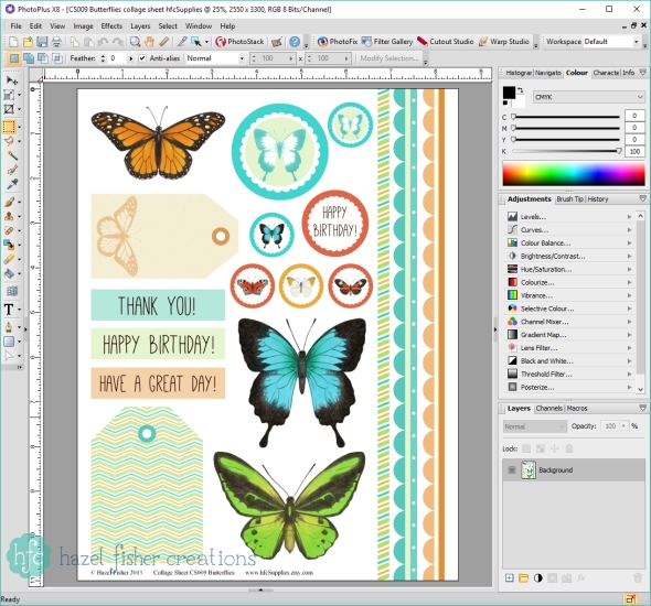 Opening Printable Sheet in Serif Photoplus - Printables Basics, File Types and Programs to Use - Hazel Fisher Creations