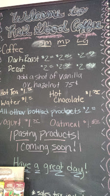 menu board at Rail Good Coffee