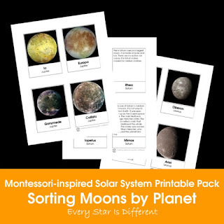 Montessori-inspired Solar System Printable Pack: Sorting Moons by Planet
