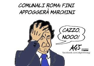 fini, marchini, elezioni roma, satira, vignetta