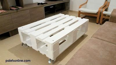 mesa con europalet color blanco Paletsonline.com