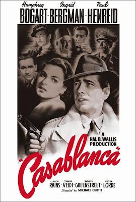 Póster de Casablanca en blanco y negro.