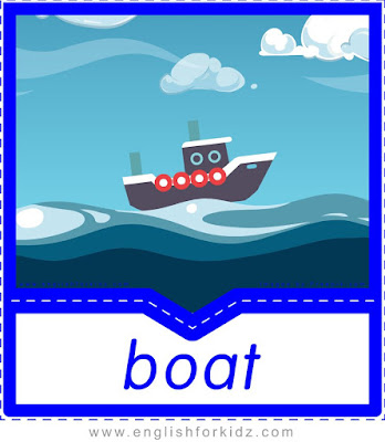 boat, printable transportation flashcards for ESL students