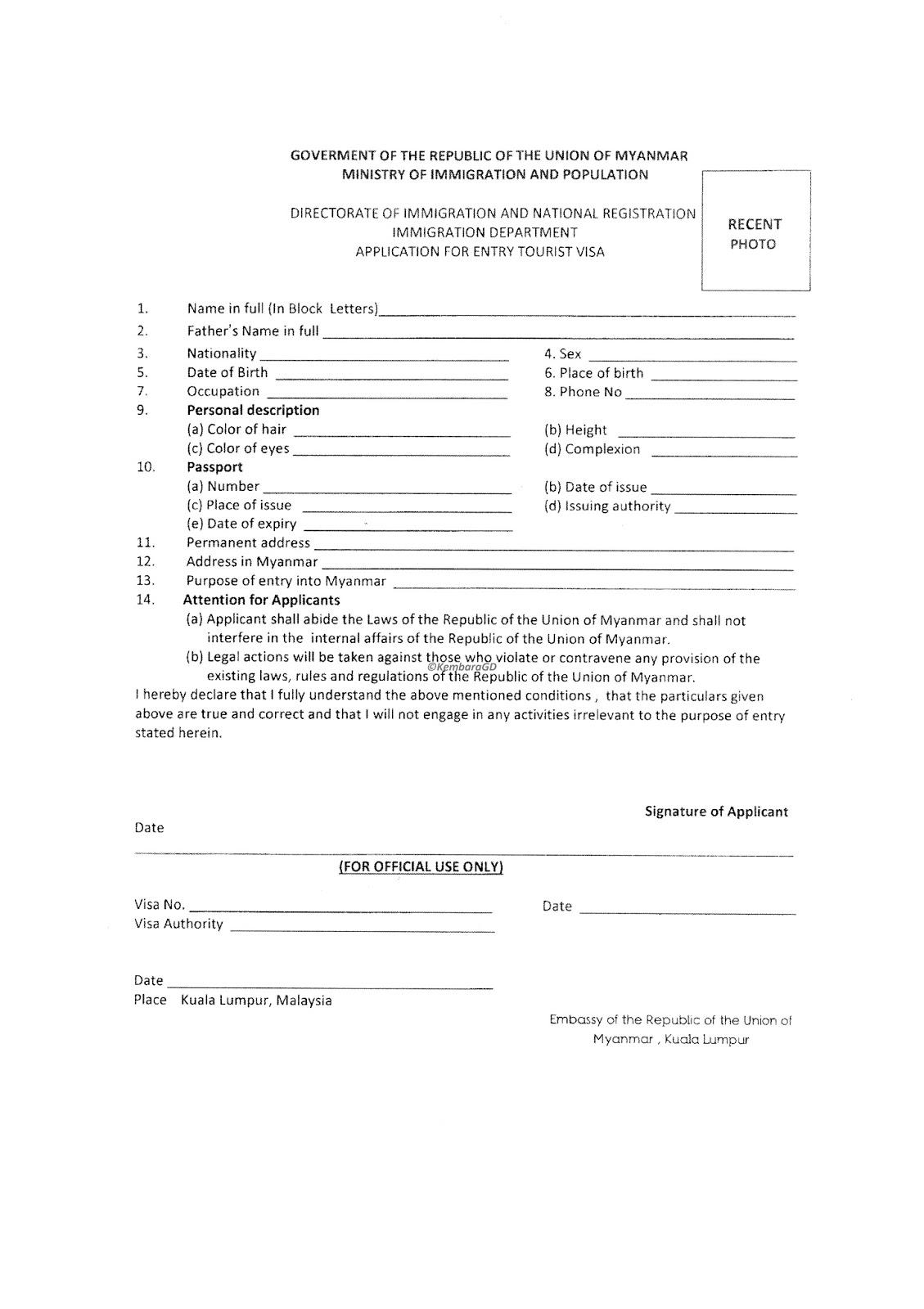 Apply Online for a Myanmar eVisa