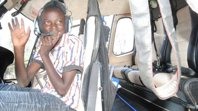 Kenyan boy Kelvin Muriuki goes to school in helicopter