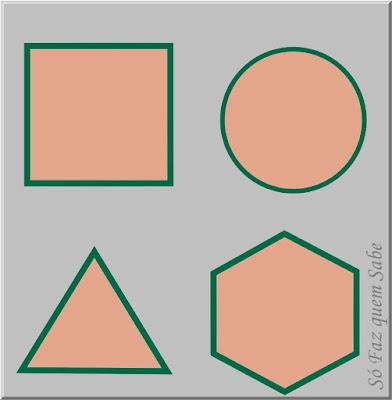 Ilustração mostrando algumas superfícies planas: quadrada, circular, triangular e hexagonal