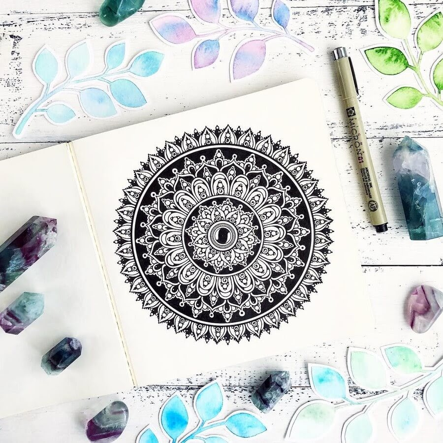 13-Ksenya-Gromova-Ink-Mandala-and-Flower-Drawings-www-designstack-co