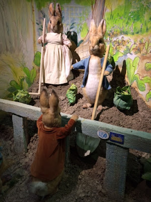 Figure of Peter Rabbit, his mother, and Benjamin Bunny
