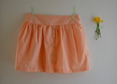 Rokje, naaien, Compagnie M, Lotta-skirt, knoopjes, peach
