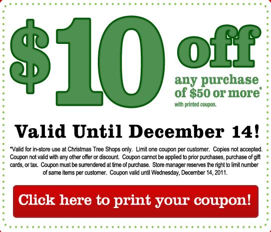 Christmas Tree Printable Coupon: My CNY Mommy: New $10 Off $50 Christmas Tree Shops Coupon