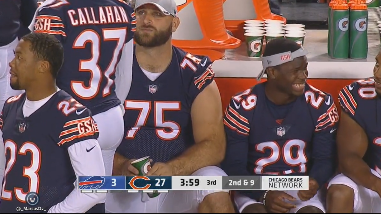 4a2785a7a66 Kyle Long sitting next to Tarik Cohen on the sideline. Buffalo Bills vs  Chicago Bears preseason game 5 8-30-18.