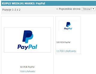 LifePointsPanel — nagrody / wypłaty.  Minimum do wypłaty: 60 zł.