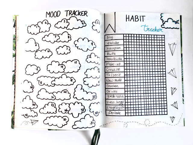 Bullet Journal Maart mood+habit tracker